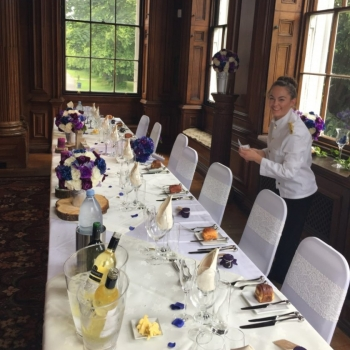 Preparing the head table for bride and groom