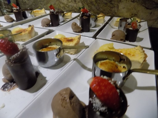 Desserts ready to be served for dinner party Lancashire